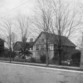 Historical image of three buildings on campus.