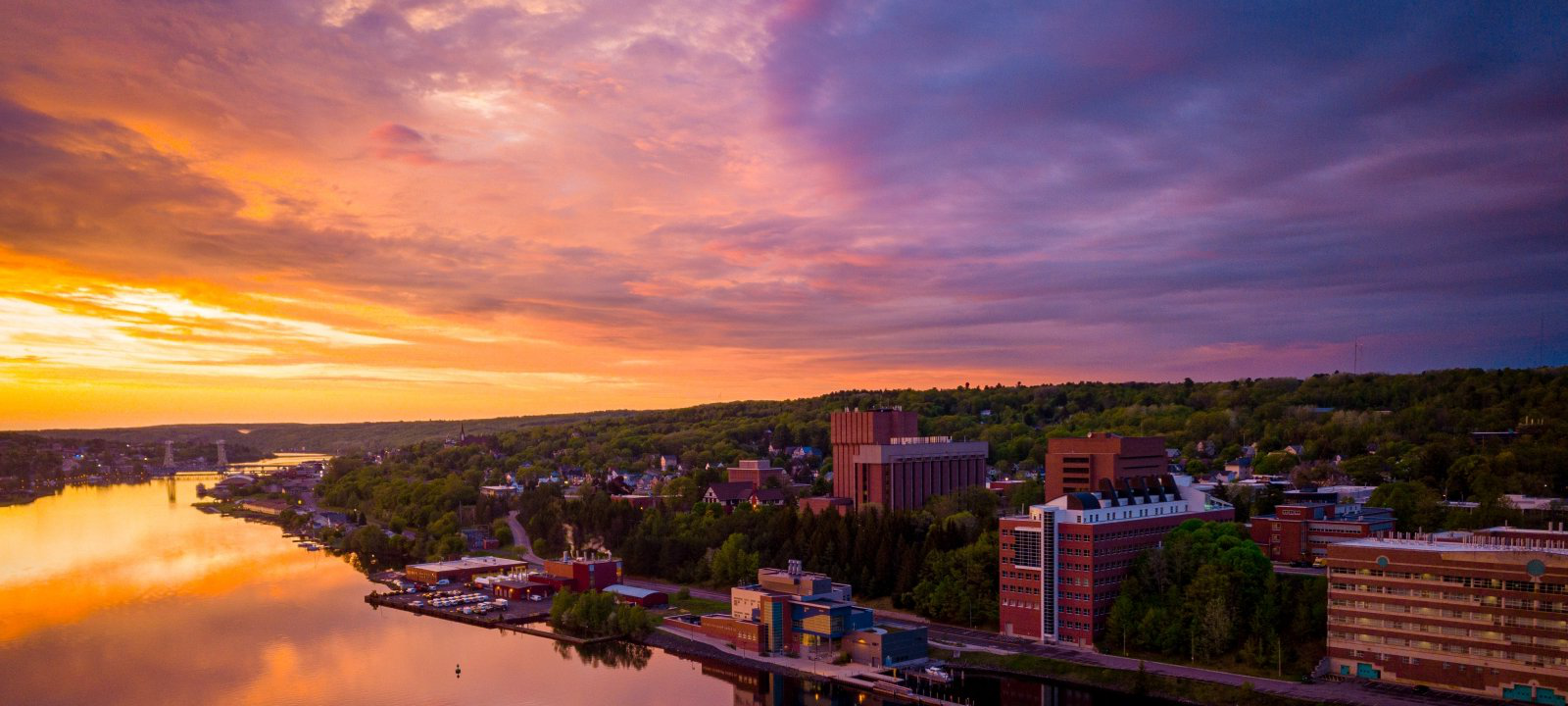 Michigan Tech's campus at sunset